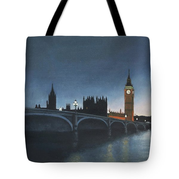 The Palace Of Westminster London Oil On Canvas Tote Bag