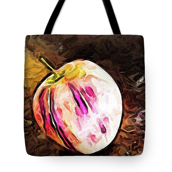 The Pale Pink Apple With The Hot Pink Stripes Tote Bag