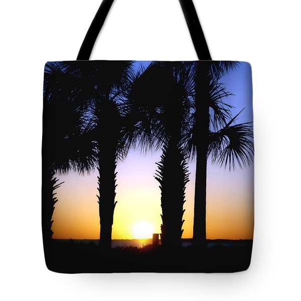 Tote Bag featuring the photograph The Palms At Sunset by Debra Forand
