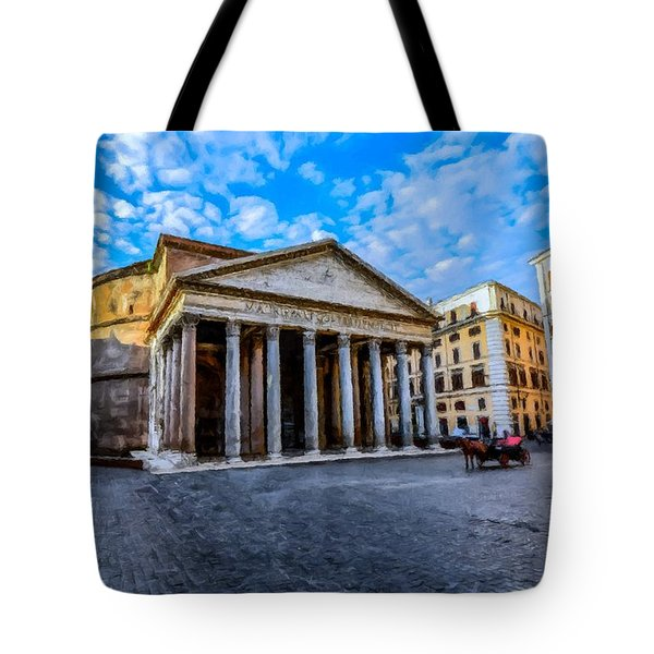 Tote Bag featuring the painting The Pantheon Rome by David Dehner