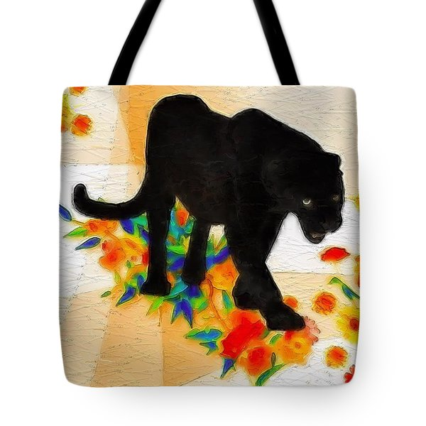 The Panther In The Flowerbed Tote Bag
