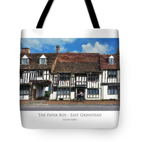 Tote Bag featuring the digital art The Paper Boy - East Grinstead by Julian Perry
