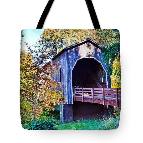 The Pass Creek Covered Brkidge Tote Bag
