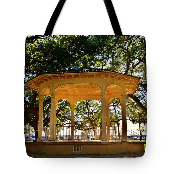 Tote Bag featuring the photograph The Pavilion At Battery Park Charleston Sc  by Lisa Wooten