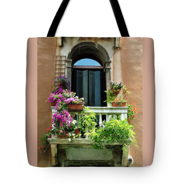 The Peach Wall With Fushia Flowers Tote Bag