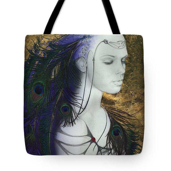 Tote Bag featuring the painting The Peacock Queen by Ragen Mendenhall