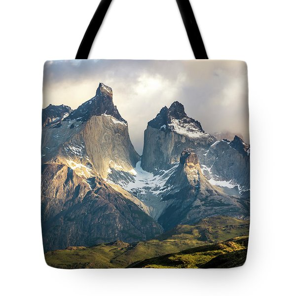Tote Bag featuring the photograph The Peaks At Sunrise by Andrew Matwijec