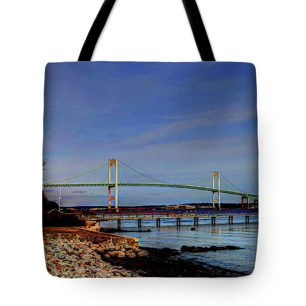 Tote Bag featuring the photograph The Pell Bridge Newport Ri by Tom Prendergast