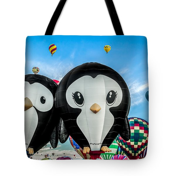 Puddles And Splash - The Penguin Hot Air Balloons Tote Bag