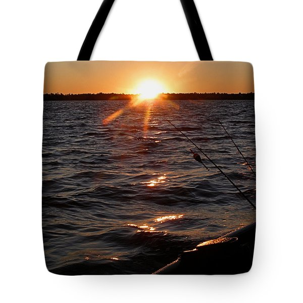 Tote Bag featuring the photograph The Perfect Ending - After A Good Day Of Fishing by Angie Rea