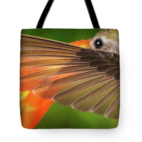 Tote Bag featuring the photograph The Perfect Left Wing Of A Hummingbird by William Lee
