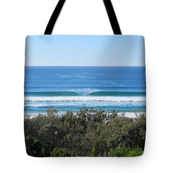 The Perfect Wave Sunrise Beach Queensland Australia Tote Bag by Chris Hobel