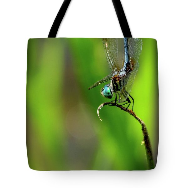 Tote Bag featuring the photograph The Performer Dragonfly Art by Reid Callaway