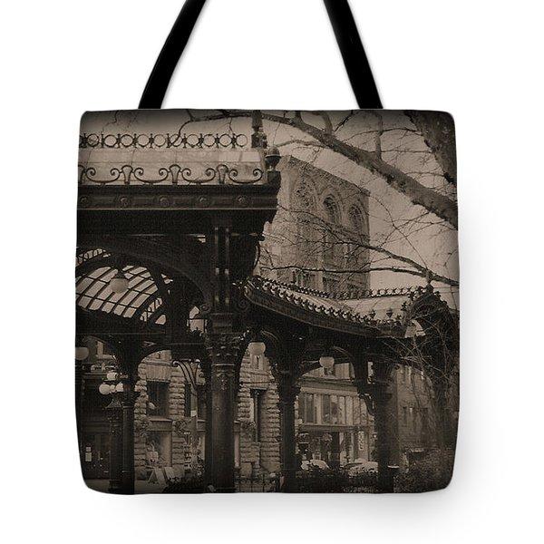 The Pergola At Pioneer Square Tote Bag by Nadalyn Larsen