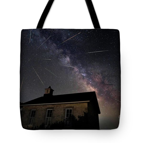 The Perseid Meteor Shower At Lower Fox Creek School  Tote Bag