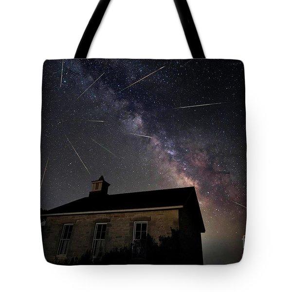 The Perseid Meteor Shower At Lower Fox Creek School  Tote Bag by Keith Kapple