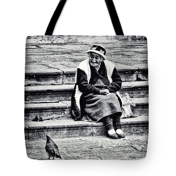 The Peruvian Lady Black And White Tote Bag