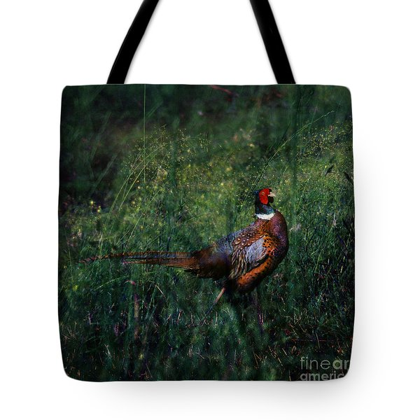 The Pheasant In The Autumn Colors Tote Bag by Angel  Tarantella