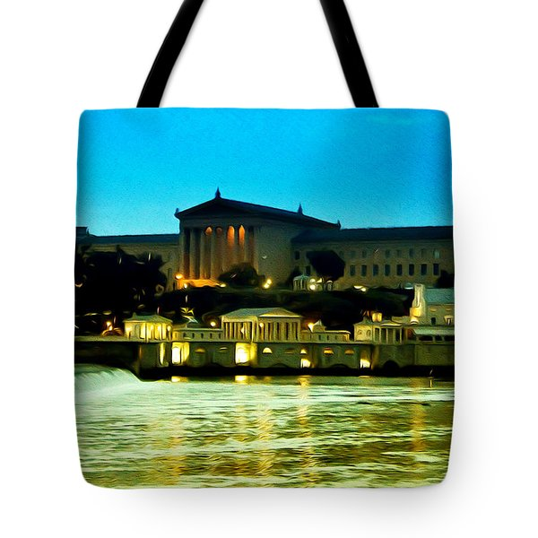 The Philadelphia Art Museum And Waterworks At Night Tote Bag by Bill Cannon
