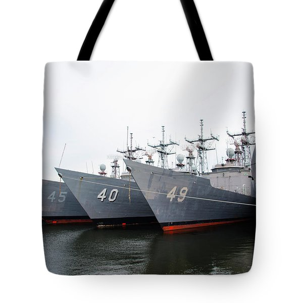 Tote Bag featuring the photograph The Philadelphia Navy Yard by Bill Cannon