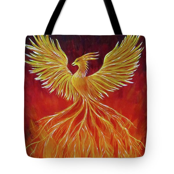 Tote Bag featuring the painting The Phoenix by Teresa Wing
