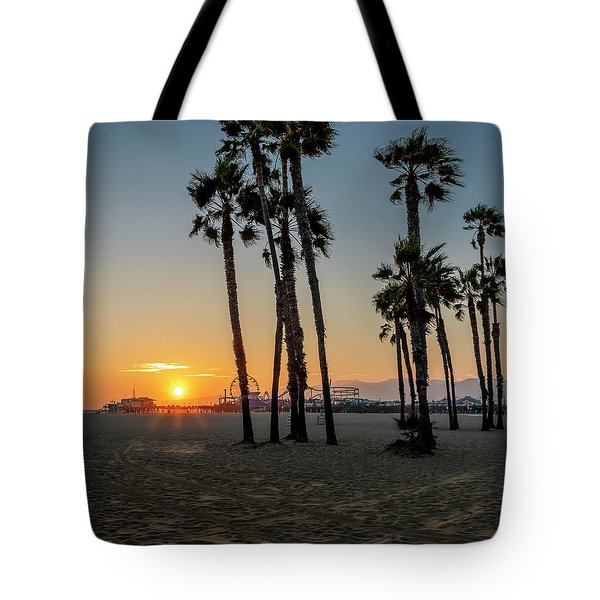 The Pier At Sunset - Square Tote Bag