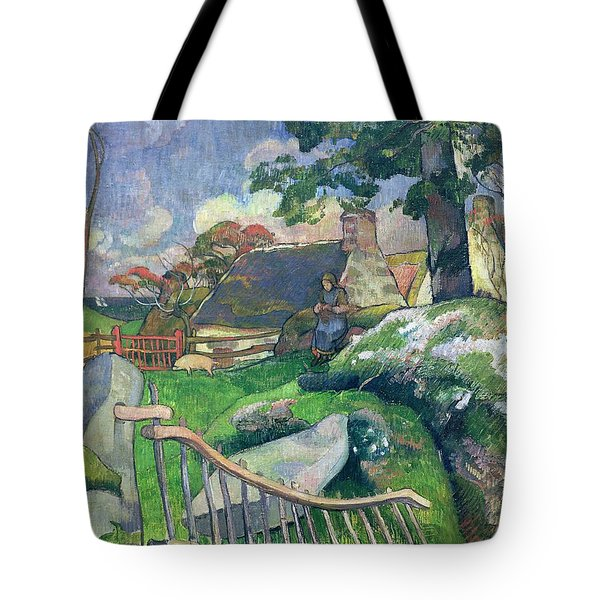 The Pig Keeper Tote Bag by Paul Gauguin