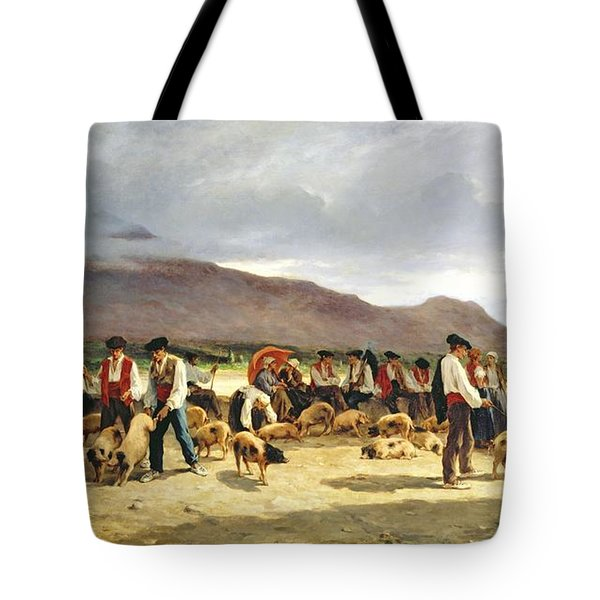 The Pig Market Tote Bag by Pierre Edmond Alexandre Hedouin