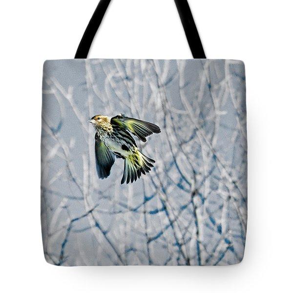 The Pine Siskin In-flight Tote Bag