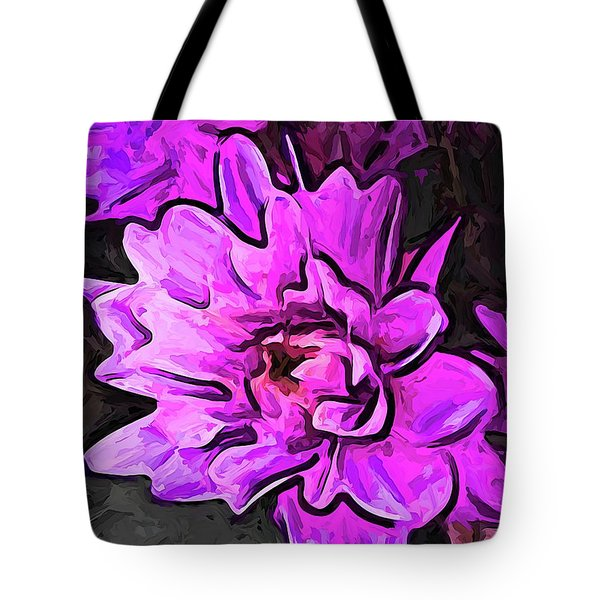 The Pink And Lavender Flowers On The Grey Surface Tote Bag