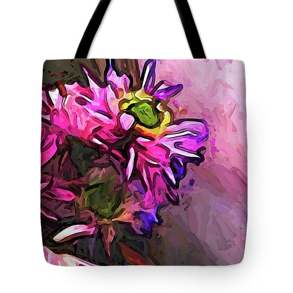 The Pink And Purple Flower By The Pale Pink Wall Tote Bag