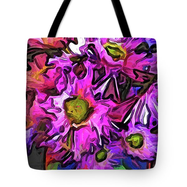 The Pink And Purple Flowers In The Red And Blue Vase Tote Bag