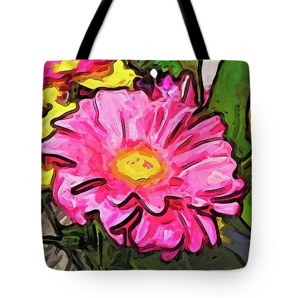 The Pink And Yellow Flowers With The Big Green Leaves Tote Bag