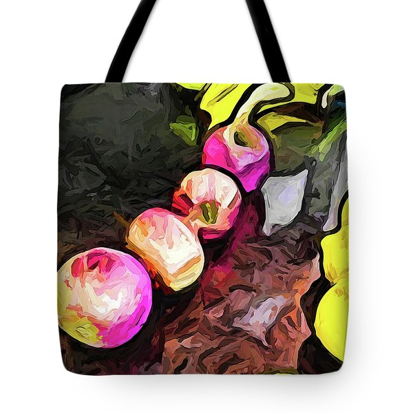 The Pink Apples In A Curve With The Yellow Lemons Tote Bag