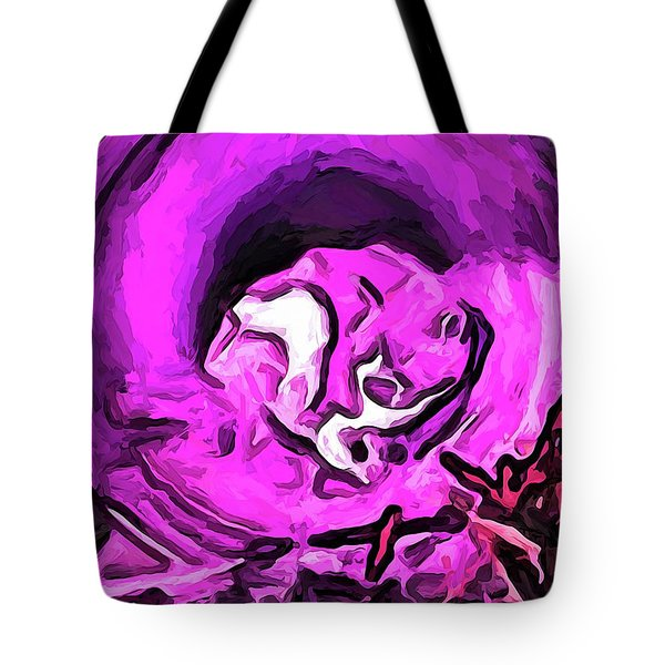 The Pink Cat In The Pink Pot Tote Bag
