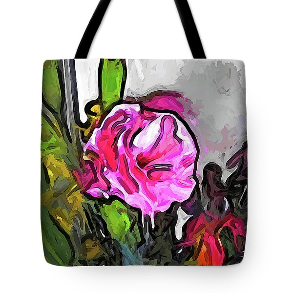 The Pink Flower With The Burgundy Buds Tote Bag