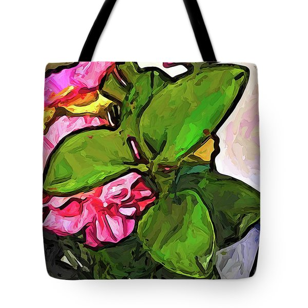 The Pink Flowers Behind The Green Leaves Tote Bag