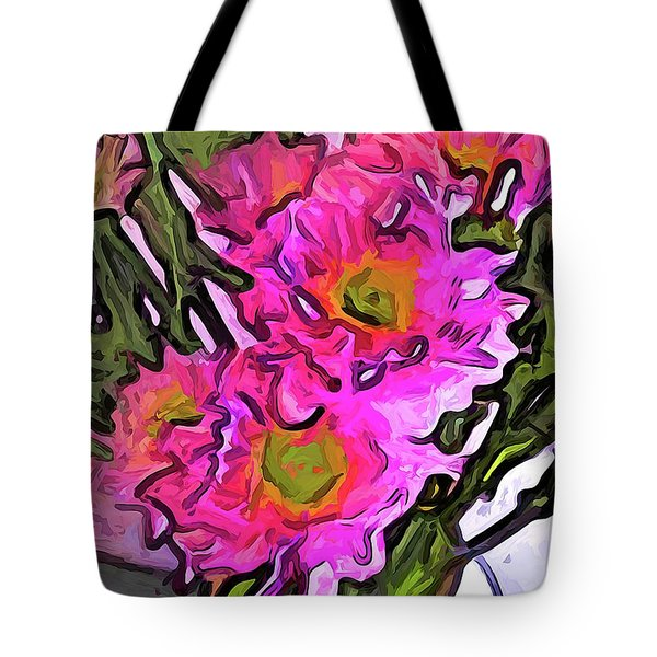 The Pink Flowers In The White Vase Tote Bag
