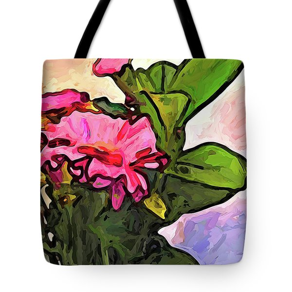 The Pink Flowers On The Left With The Green Leaves Tote Bag