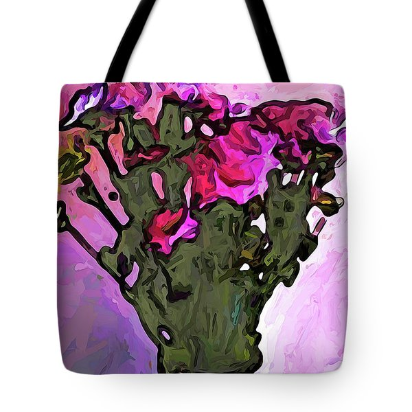 The Pink Flowers With The Long Stems In The Vase Tote Bag