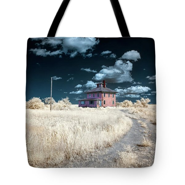 Tote Bag featuring the photograph The Pink House In Halespectrum 1 by Brian Hale