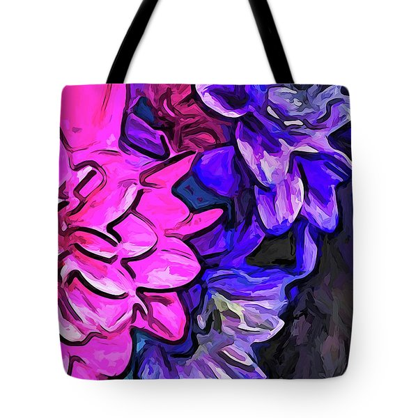 The Pink Petals With The Purple And Blue Flowers Tote Bag