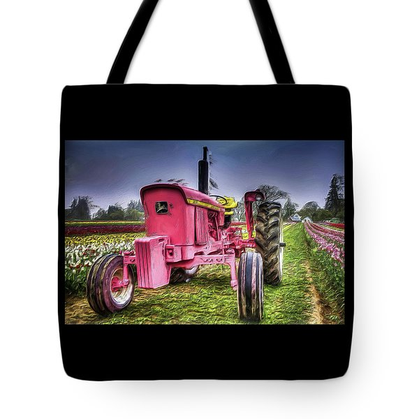 Tote Bag featuring the photograph The Pink Tractor At The Wooden Shoe Tulip Farm by Thom Zehrfeld