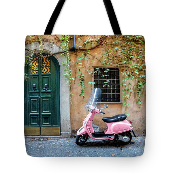 The Pink Vespa Tote Bag by Al Hurley
