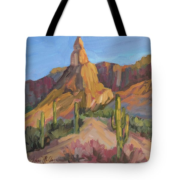 Tote Bag featuring the painting The Pinnacle At Goldfield Mountains by Diane McClary