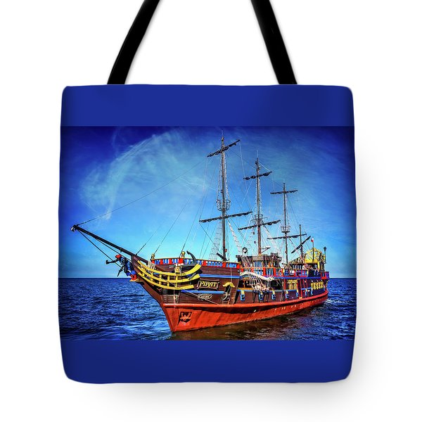 Tote Bag featuring the photograph The Pirate Ship Ustka In Sopot  by Carol Japp