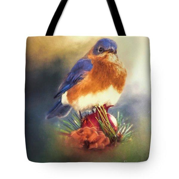 The Pondering Bluebird Tote Bag
