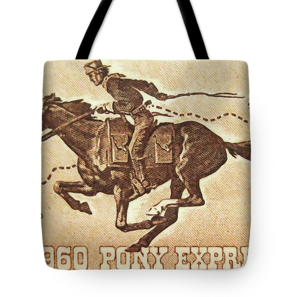 The Pony Express Centennial Stamp Tote Bag by Lanjee Chee