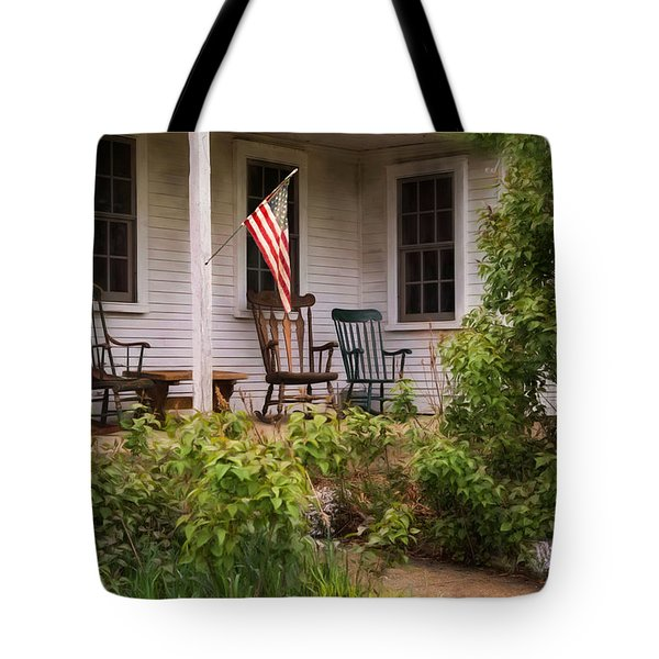Tote Bag featuring the photograph The Porch by Robin-Lee Vieira