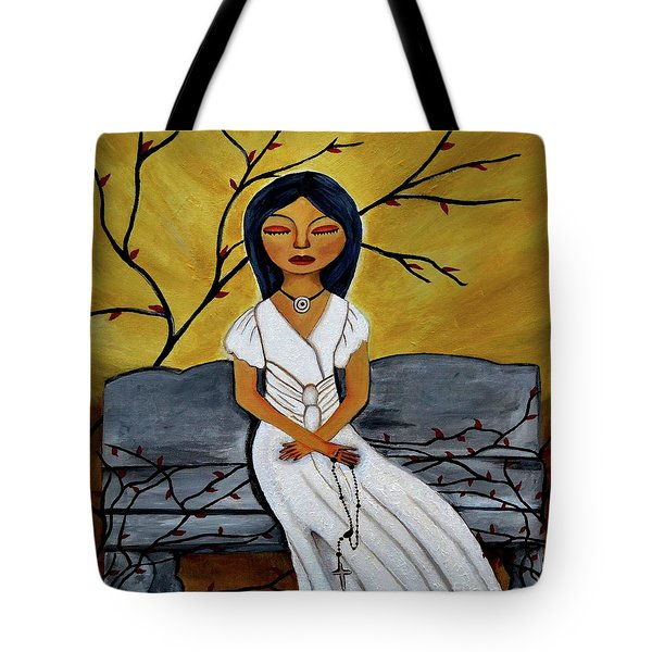 The Power Of The Rosary Religious Art By Saribelle Tote Bag by Saribelle Rodriguez